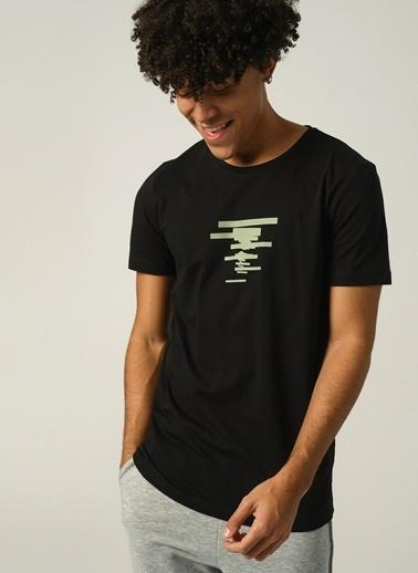 People By Fabrika Erkek Baskılı  Tişört PFESS21TS0036 Siyah